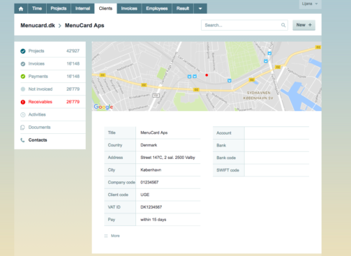 View client contacts timebase